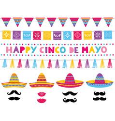 cinco de mayo set sombrero hats vector image
