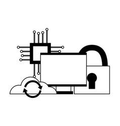 cloud computing monitor processor security vector image