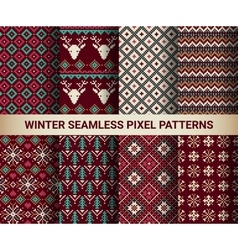 collection pixel bright seamless patterns vector image