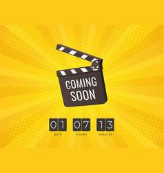 Coming soon clapper board flip countdown clock vector