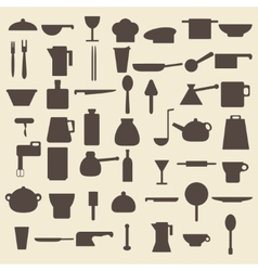 Cooking items types silhouette icons set Perfect vector image