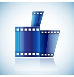 Curled blue cinema tape film human hand with thumb vector image