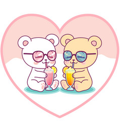 Cute couple bears drinking milkshakes vector