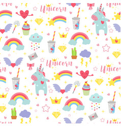 Cute unicorn baby seamless pattern vector