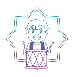 Degraded line carnival boy play drum inside star vector