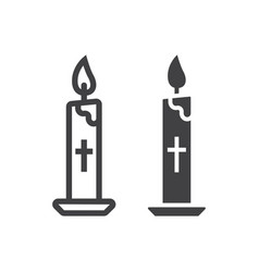 Easter candle line and glyph icon easter vector