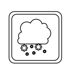 emblem cloud snowing icon vector image