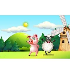 Farm animals dancing near the windmill vector