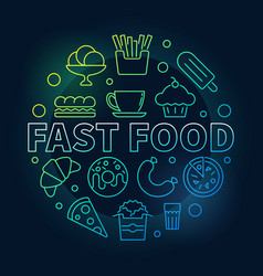 Fast food round colorful symbol vector