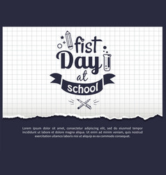 first day at school sticker isolated on white vector image