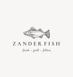 Fish restaurant or grill abstract sign vector