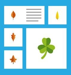 Flat icon foliage set of linden foliage maple vector