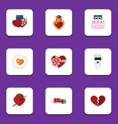 Flat icon passion set of patisserie scrambled vector