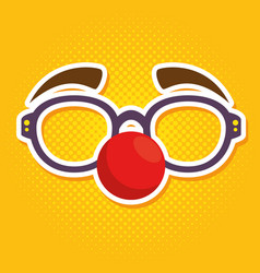 fool clown glasses with red nose vector image