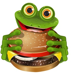 frog with cheeseburger vector image