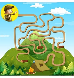 Game template with girl and camping site vector image