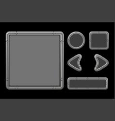 game ui kit template metal menu vector image