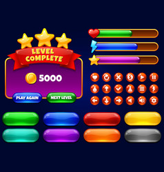 game ui level complete menu with golden stars vector image