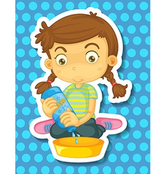 Girl cleaning vector image