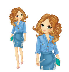 Girl Dressed In Denim Skirt And Shirt vector
