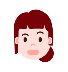 Girl head with facial emotions avatar character vector
