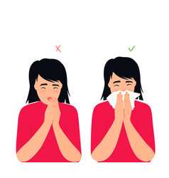 girl sneezes and coughs right and wrong vector image