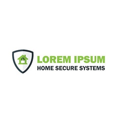 Green Home Security System Logo with Padlock vector