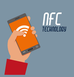 Hand with smartphone wifi to nfc transaction vector