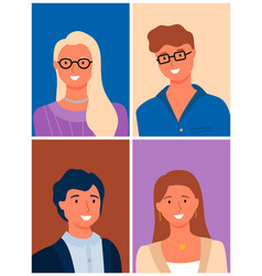 Happy couples male female family portraits vector