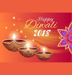 happy diwali 2018 poster on vector image