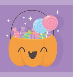 happy halloween funny pumpkin bucket with candies vector image