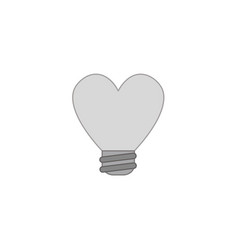 Icon concept of heart shaped light bulb colored vector