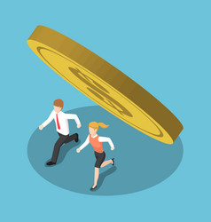 isometric business people running away from coin vector image vector image