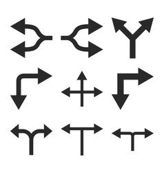 Junction Arrows Flat Icon Set vector image