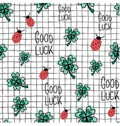ladybug clover good luck seamless vector image