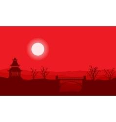 Landscape silhouette of pavilion with bridge vector image