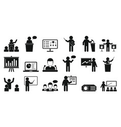 Lecture icons set simple style vector