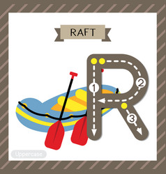 Letter r uppercase tracing raft vector