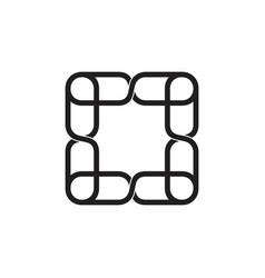 Linked square chain frame logo vector