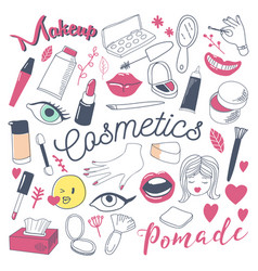 Makeup and cosmetics beauty freehand doodle vector