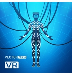 Man in a virtual reality helmet vector image