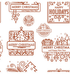 merry christmas winter holiday monochrome logo vector image