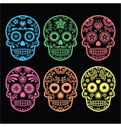 Mexican sugar skull Dia de los Muertos icons vector