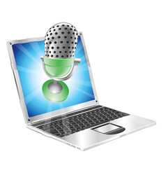 Microphone flying out of laptop screen concept vector