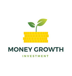 money growth coin leaf sprout logo icon vector image