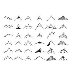 Mountain icons set Hand drawn vector