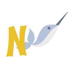 Narwhal animal alphabet symbol english letter n vector