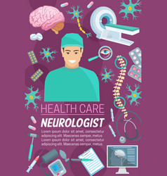 Neurology medicine doctor and medical items vector