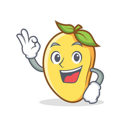 Okay mango character cartoon mascot vector