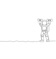 one continuous line drawing astronaut vector image
